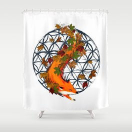 Watercolor Fox Flower Of Life Shower Curtain