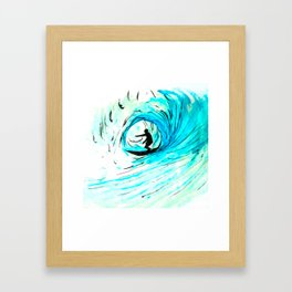 Surfer in blue Framed Art Print