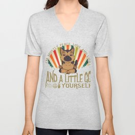 Funny German Shepard Yoga I'm Mostly Peace Love and Light graphic Unisex V-Neck