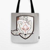 okami Tote Bags featuring God Hound [Okami] by Ruwah
