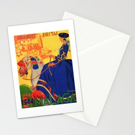 1944 Malaga Grandes Fiestas Spain Travel Poster Stationery Cards