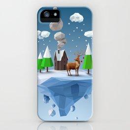 Geometric, low poly winter landscape iPhone Case