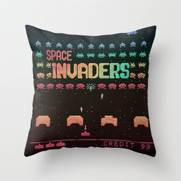 Invader Space Throw Pillow