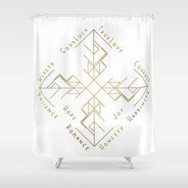 Binding Rune - Joy of Fortunes in Gold Shower Curtain