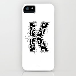 Letter K Elegant Scroll Initial iPhone Case
