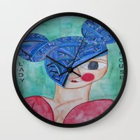 minnie Wall Clocks featuring Minnie Blue by fieltrovitz