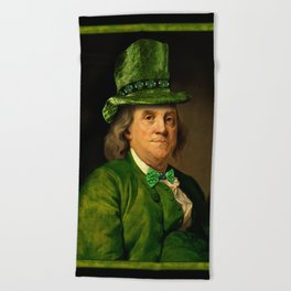 St Patrick's Day for Lucky Ben Franklin Beach Towel