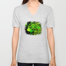 lionfish vector art green Unisex V-Neck
