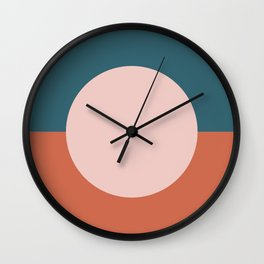 Dotted Half Half Minimalist Geometric in Blush Pink, Clay, and Blue Wall Clock