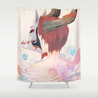 kitsune Shower Curtains featuring KITSUNE GIRL by Vcortez