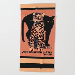 Retro vintage Munich Zoo big cats Beach Towel