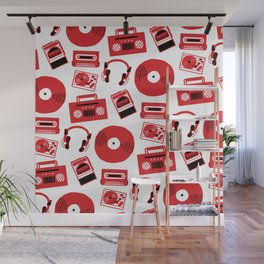 Red Music Wall Mural