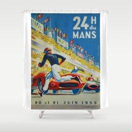 24hs Le Mans, 1959, vintage poster Shower Curtain