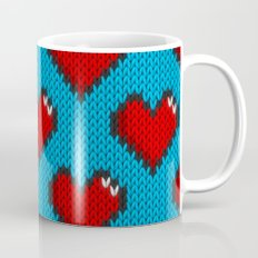 Knitted heart pattern - blue Mug