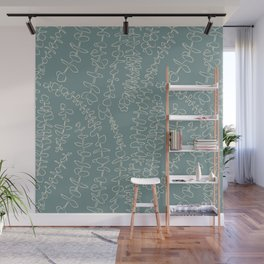 Round Eucalyptus Leaf Toss in Sage Green + Natural Wall Mural