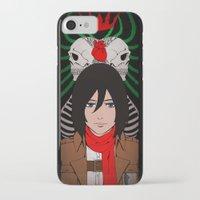 shingeki no kyojin iPhone & iPod Cases featuring Shingeki no Kyojin - Mikasa card by kamikaze43v3r