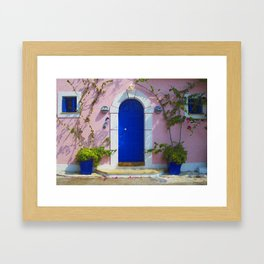 Greek Door Nº3 Framed Art Print