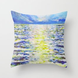 Glittering Sea Throw Pillow