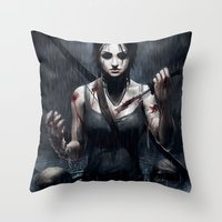tomb raider Throw Pillows featuring Tomb Raider by Max Grecke