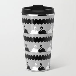 White and Black Swans with Hearts Travel Mug