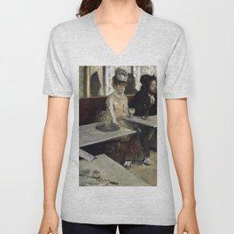 The Absinthe Drinker by Edgar Degas Unisex V-Neck