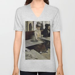 The Absinthe Drinker by Edgar Degas Unisex V-Neck