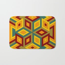 Multicolor Geometric Hexagon Pattern with contrasting colors Bath Mat