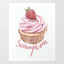 Scrumptious Strawberry Cupcake Art Print