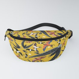 Swallows Martins and Swift pattern Yellow Fanny Pack