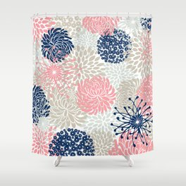 Floral Mixed Blooms, Blush Pink, Navy Blue, Gray, Beige Shower Curtain