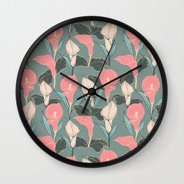 Calla lilies pattern II. Wall Clock