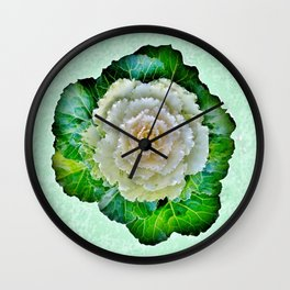 Beige Cabbage from the Garden Wall Clock