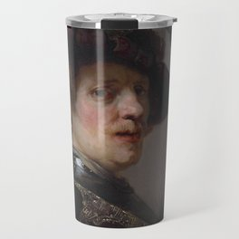 'Tronie' of a man with a feathered beret Travel Mug