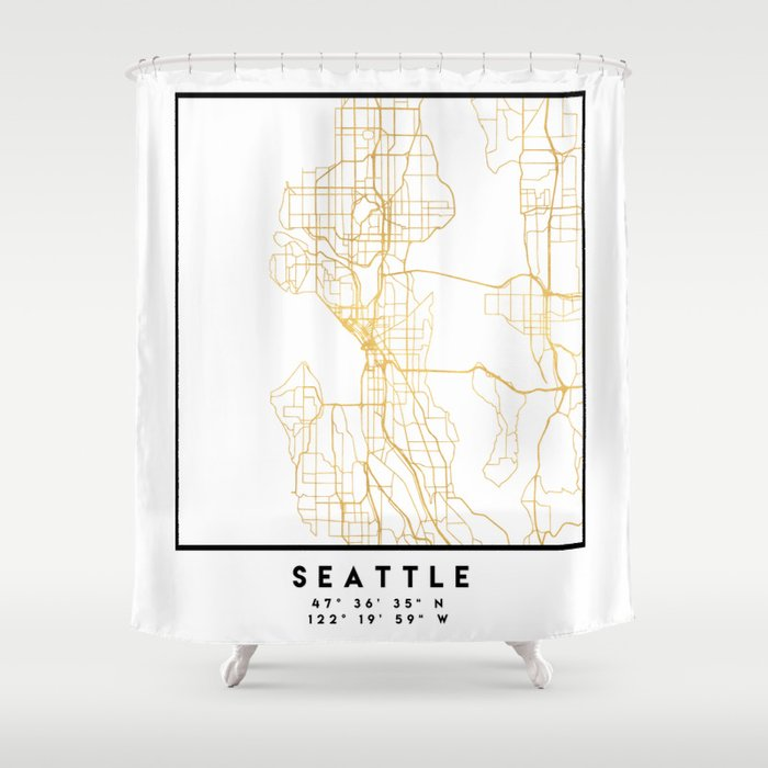 Seattle Washington City Street Map Art Shower Curtain By Deificusart