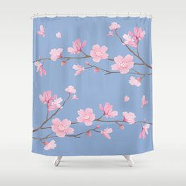 Square - Cherry Blossom - Serenity Blue Shower Curtain
