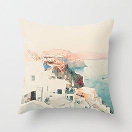 Santorini Sunsets Throw Pillow