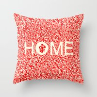 wallet Throw Pillows featuring Home:家 by aPersonalidea