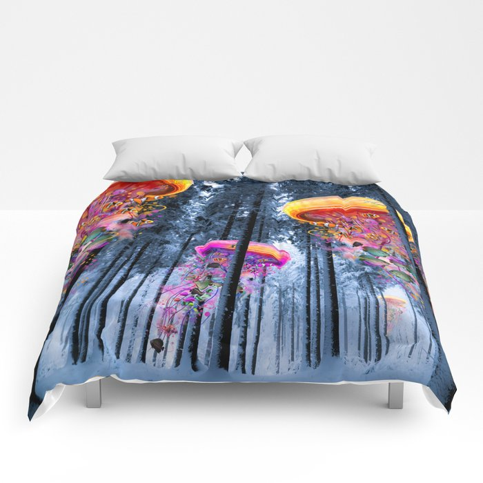 Winter Forest of Electric Jellyfish Worlds Comforters