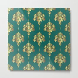 Gold damask flowers and pearls on emerald green background Metal Print