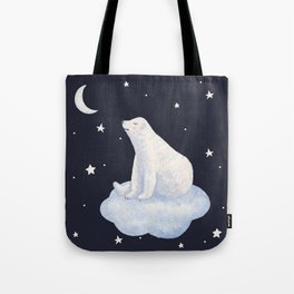 white bear on the cloud Tote Bag