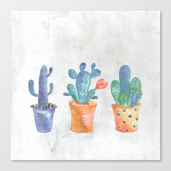 Three Blue Cacti Canvas Print