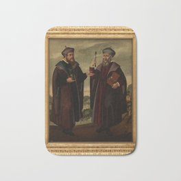 SS. Cosmas and Damian in a landscape. Oil painting, 17th c. v Bath Mat