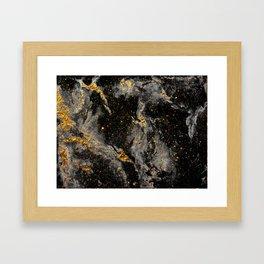 Galaxy (black gold) Framed Art Print