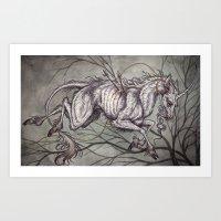 unicorn Art Prints featuring Unicorn by Caitlin Hackett
