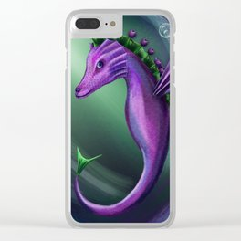 Blueberry sea horse Clear iPhone Case