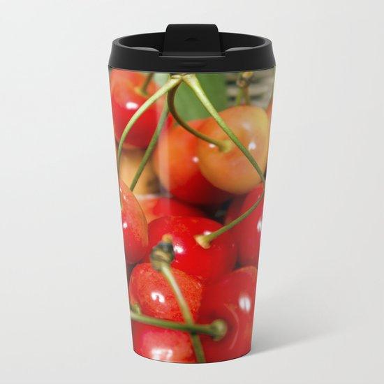Cherries in a Basket Close Up Metal Travel Mug