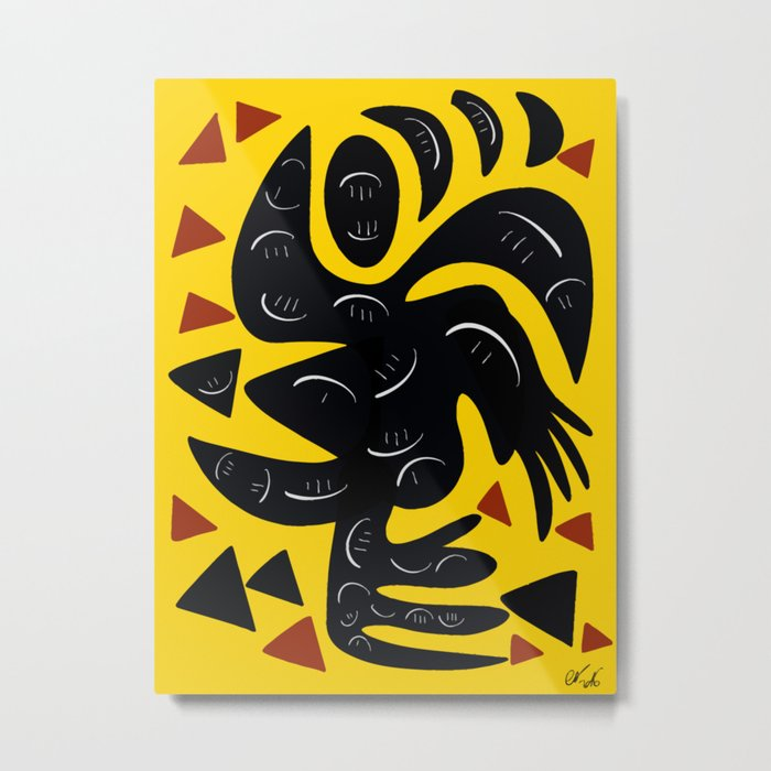 African Yellow abstract minimal and pop art design Metal Print
