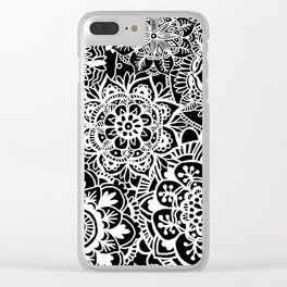 Black and White Mandala Pattern Clear iPhone Case