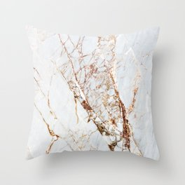 Gold Grey and White Sparkle Marble Throw Pillow