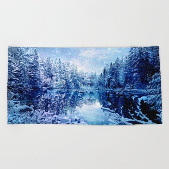 Blue Winter Wonderland : Forest Mirror Lake Beach Towel